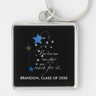 Custom Name Blue Brandon, Class of, Graduation Sta Keychain