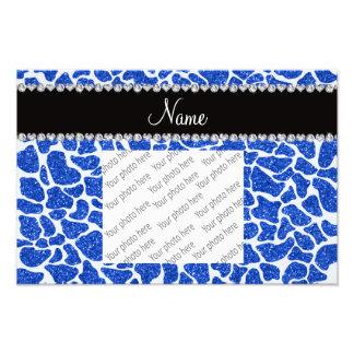 Custom name blue glitter giraffe print art photo