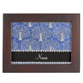 Custom name blue glitter silver tree of life keepsake boxes