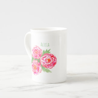 Custom Name Bone China Mug Roses Watercolor