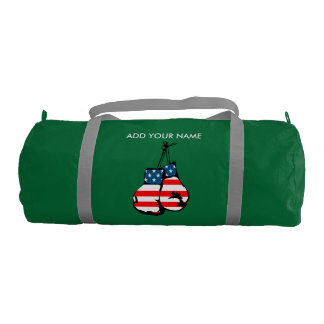 Custom Name Boxing Gloves Duffle Gym Bag, Emerald