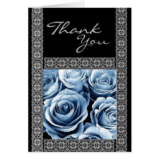 CUSTOM NAME - Bridesmaid Thank You ICE BLUE Roses Cards