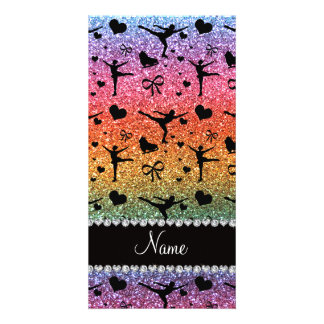 Custom name bright rainbow glitter figure skating picture card