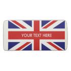 Custom name British Union Jack flag rubber eraser