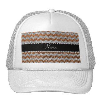 Custom name burnt gold silver glitter chevrons hat