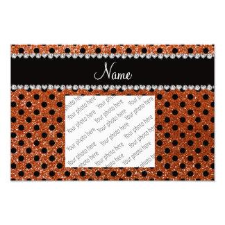 Custom name burnt orange glitter black polka dots photo