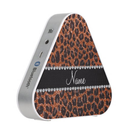 Custom name burnt orange glitter leopard print bluetooth speaker