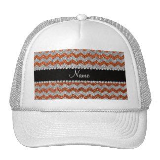Custom name burnt orange silver glitter chevrons mesh hats