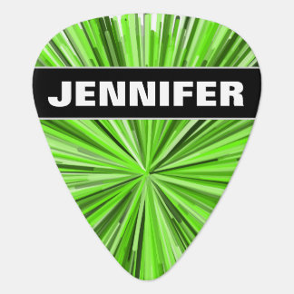 Custom Name + Burst of Green Lines Pattern Guitar Pick