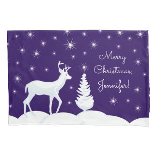 Custom Name Christmas Reindeer Single Pillowcase
