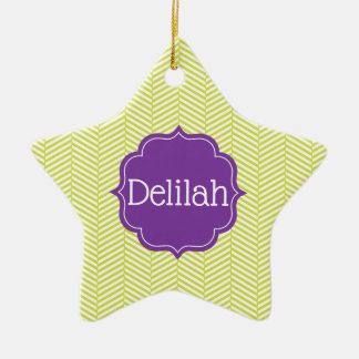 Custom Name Citron Chevron with Purple Ceramic Ornament