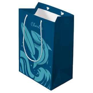 Custom name & color Surfer Shark gift bag
