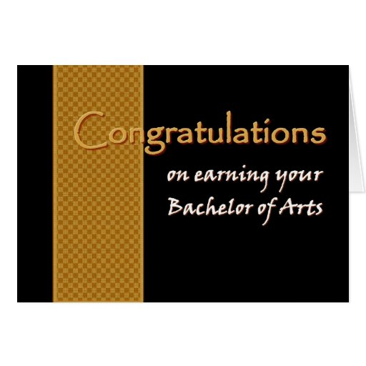 CUSTOM NAME Congratulations - Bachelor of Arts Card