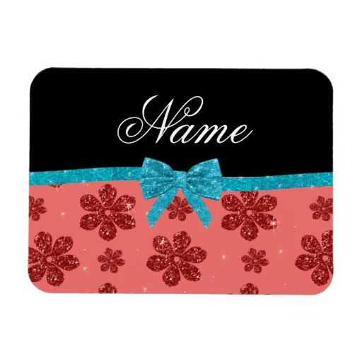 Custom name coral pink glitter flowers bow rectangular magnets