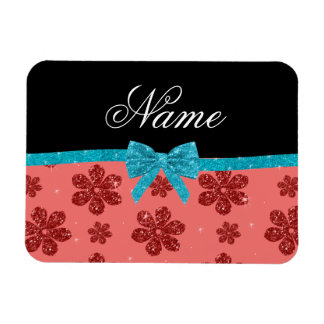 Custom name coral pink glitter flowers bow rectangular photo magnet