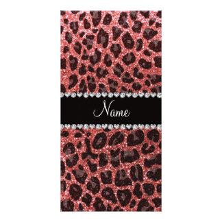 Custom name coral pink glitter leopard print custom photo card