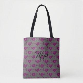 Custom Name Cute Gray & Dark Pink Flowers Tote Bag