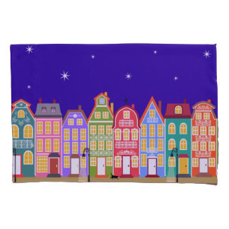 Custom Name Cute Night City Pillowcase, Reversed Pillowcase