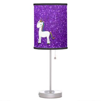 Custom name cute unicorn purple glitter heart table lamp