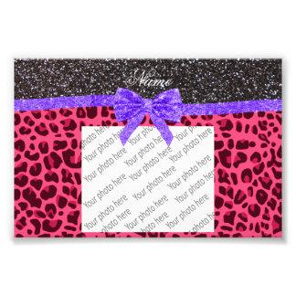 Custom name dark gray glitter pink leopard bow photo