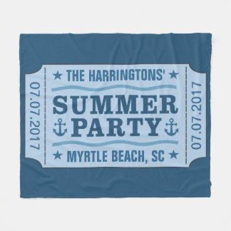 """Custom name date & location """"Party Ticket"""" blanket"""
