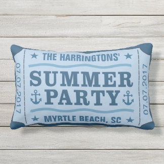 """Custom name, date & location """"Party Ticket"""" pillow"""