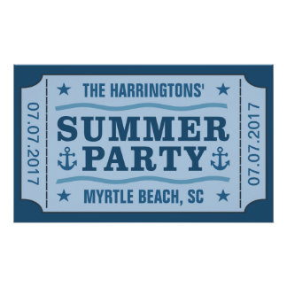 "Custom name, date & location ""Party Ticket"" poster"