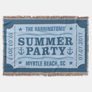 "Custom name, date & location ""Party Ticket"" throw"