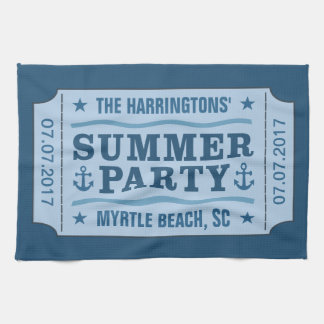 """Custom name, date & location """"Party Ticket"""" towel"""