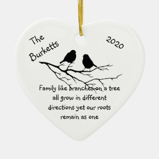 Custom Name Dated Christmas Family Quote Ceramic Ornament