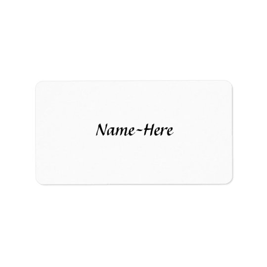 Custom name design, with a script font. label