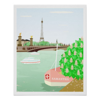 Custom Name Eifel Tower Spring in Paris Poster