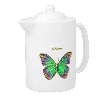 Custom Name Emerald Gold Butterfly Teapot