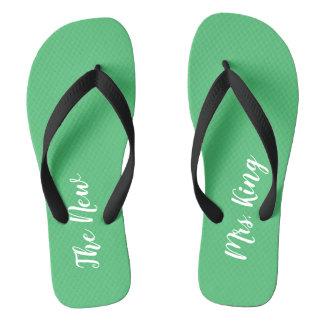 Custom Name Emerald Green Wedding Flip Flops