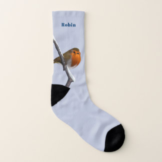 Custom Name European Robin Socks 1