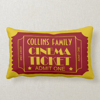 Custom Name Family Cinema Ticket Lumbar Pillow