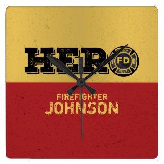 Custom Name, Firefighter Hero Square Wall Clock