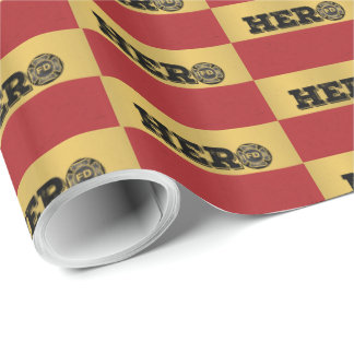 Custom Name, Firefighter Hero Wrapping Paper