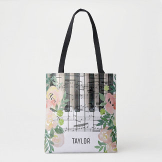 custom name floral music notes piano tote bag