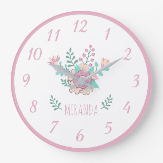 Custom Name Floral Wreath Girl Wall Clock