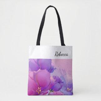 Custom Name | Flower Painting Gift Tote Bags