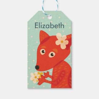Custom Name Flowers And Cute Fox Gift Tags