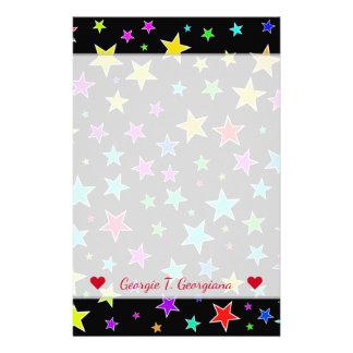 Custom Name + Fun, Colorful Stars Pattern Stationery