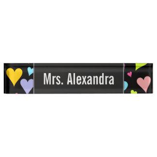 Custom Name + Fun, Loving, Colorful Hearts Pattern Name Plate