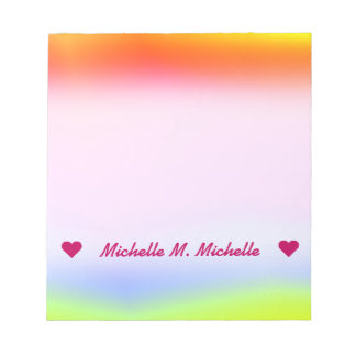 Custom Name; Fun Multicolored Rainbow-Like Pattern Notepad