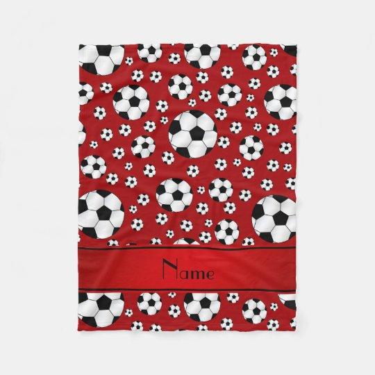 Custom name fun red soccer balls fleece blanket