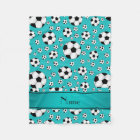 Custom name fun turquoise soccer balls and stripe fleece blanket