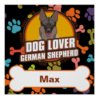 Custom Name German Shepherd Dog Bone Puppy Paws Poster
