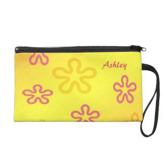 Custom Name Girls' Flower Design Wristlet