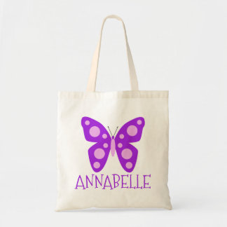 Custom Name Girls Purple Pink Butterfly Tote Bag